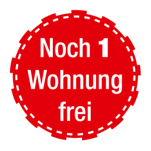 "Stoerer rot Text: ""Noch 1 Wohnung frei"""